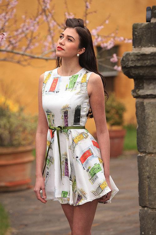 Silk dress with door detail print