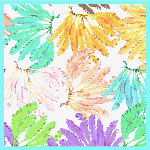 Tropical Seaweed Silk Scarf with turquoise edge
