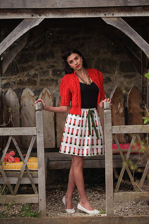 Silk Postbox print skirt