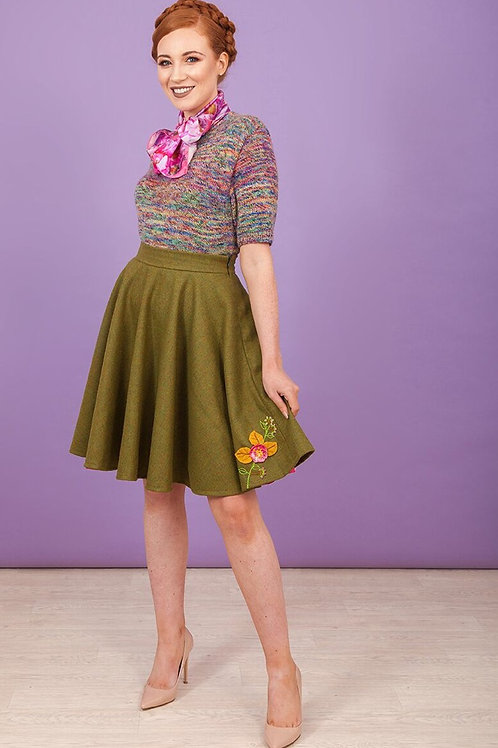 Green Woolen circular skirt with embroidery detail