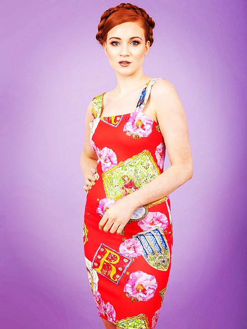 Red frames body con dress