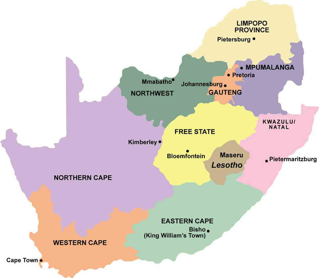 Map Of South Africa Showing 9 Provinces.The 9 Provinces Challenge