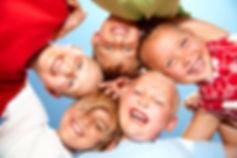 Group of different children having good
