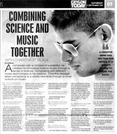 Ceylon Today | Combining Science & Music Together Interview with Charitha Attalage by G. Gokulan