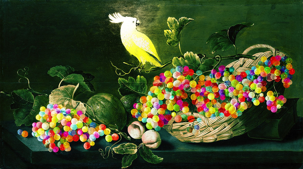 Parrot With Grapes