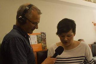 Jo Weston with Mark Dennison, reading on BBC Radio Nottingham