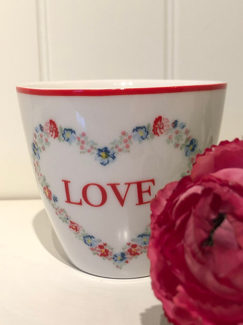 Latte cup heart love white