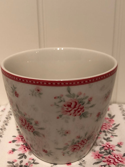 Latte cup flora white