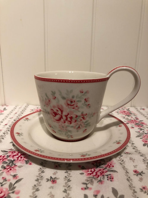 Cup and saucer flora white