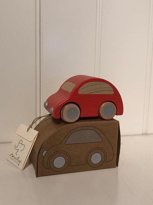 Rød træ bil