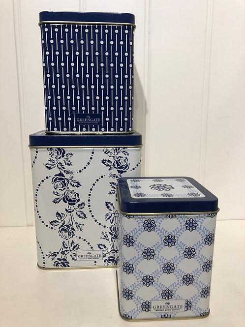 Square box fleur blue