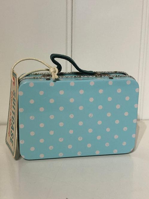 Kuffert blå med prik
