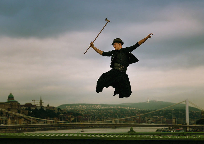 dance photography budapest folk dancer Liberty bridge