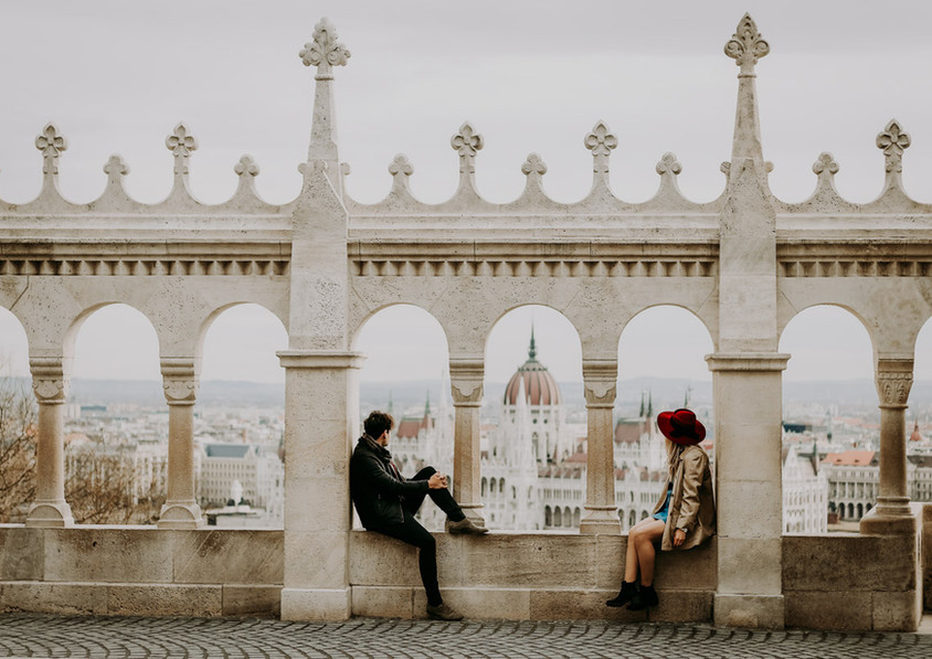 Couple looking at view of Budapest Parli