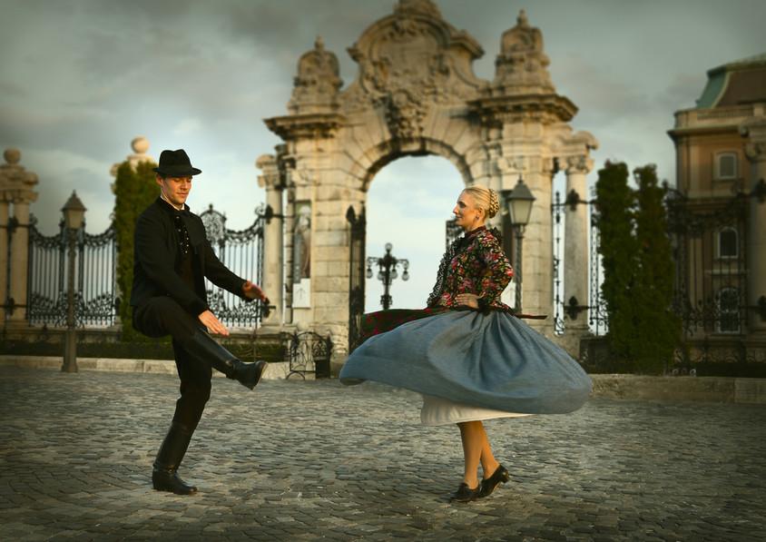 dance photography budapest folk dancer Buda Castle