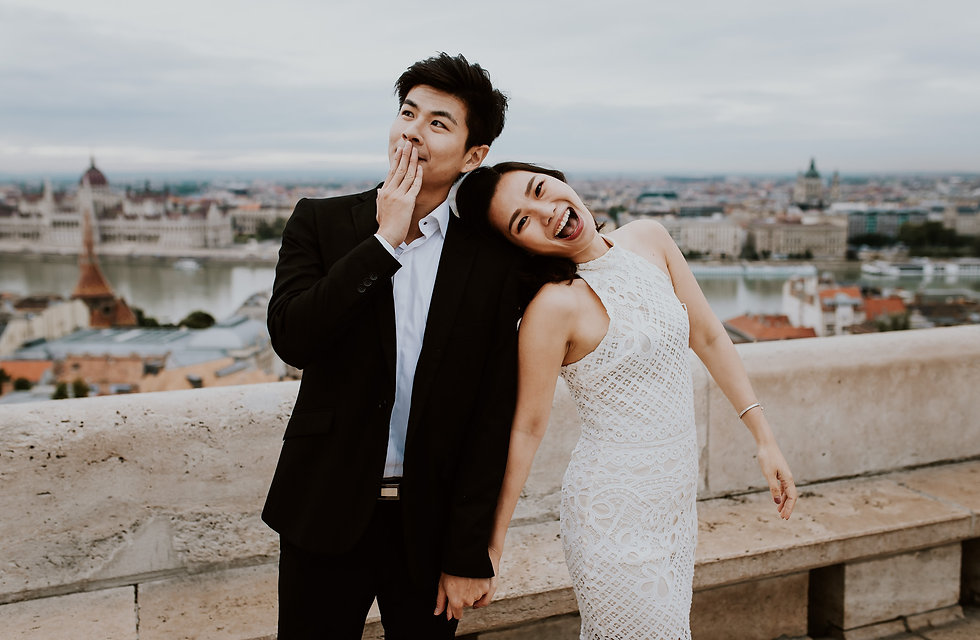 Asian couple prewedding photo shoot in budapest