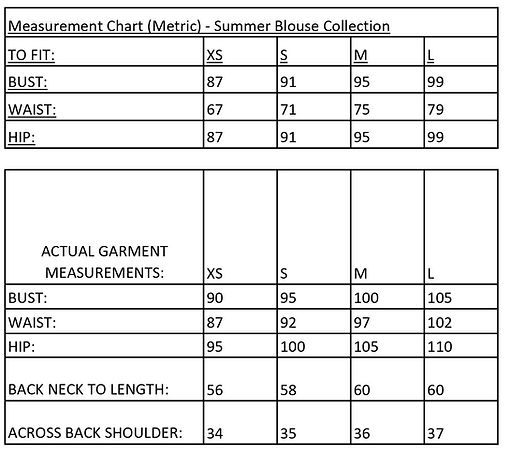 Measurement Chart - Summer Blouse Collec