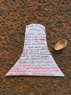 Tara Fatehi Irani, Mishandled Archive, day 362, 'Bricks of Freedom' (back), 2017