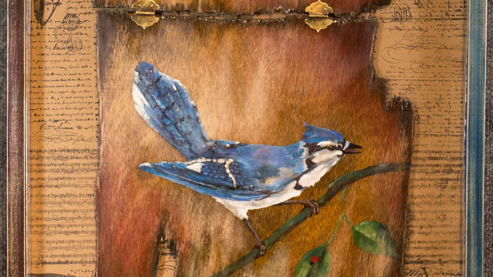 Blue Jay And A Lady Painting