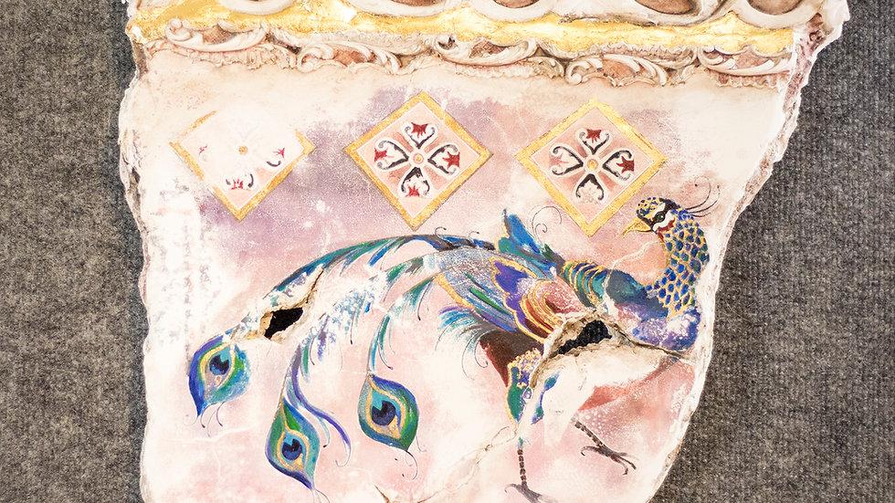 Peacock in Plaster Fresco art