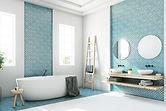 青いバスルーム