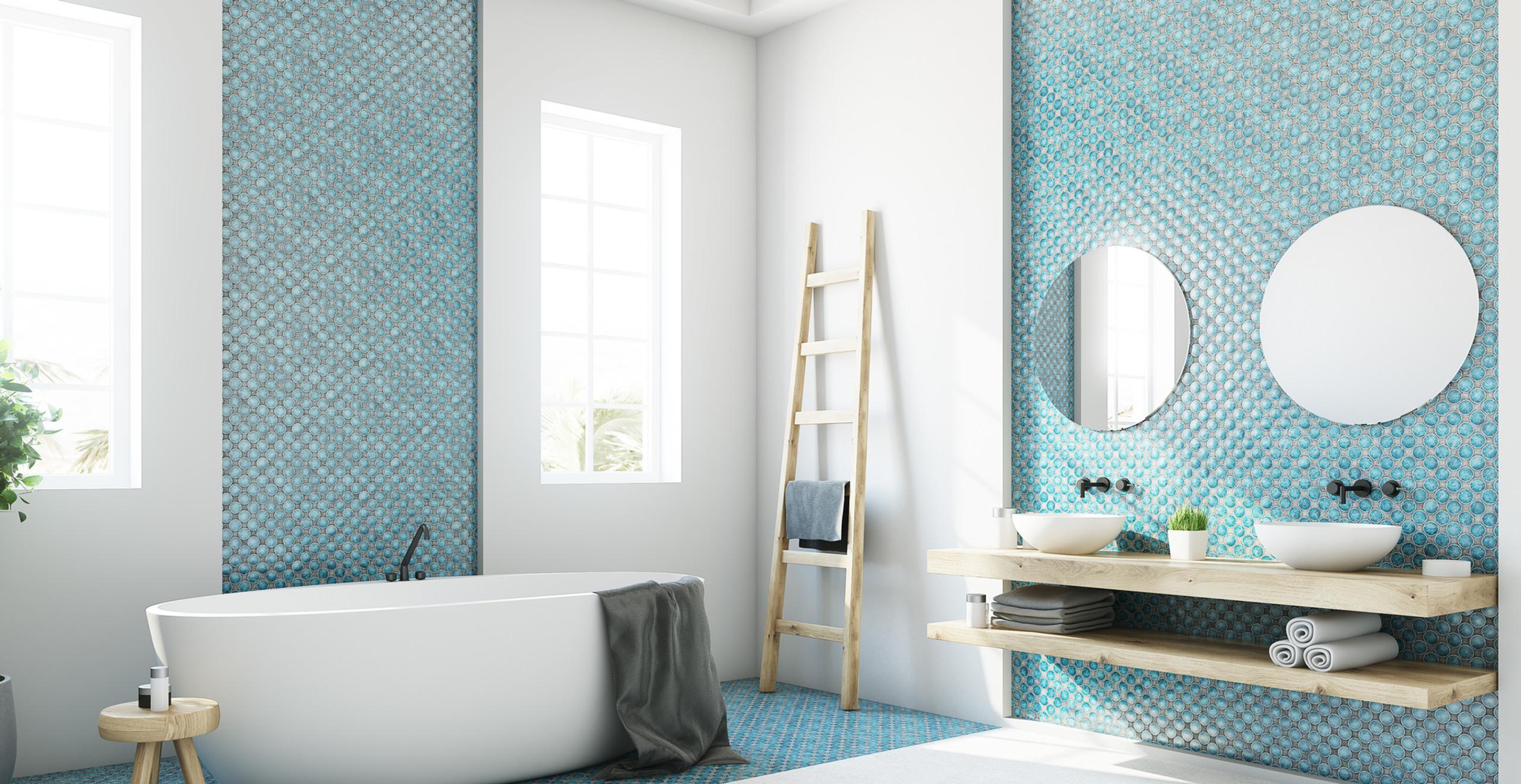 Blue serene bathroom