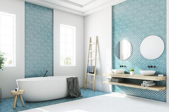 Blått badrum
