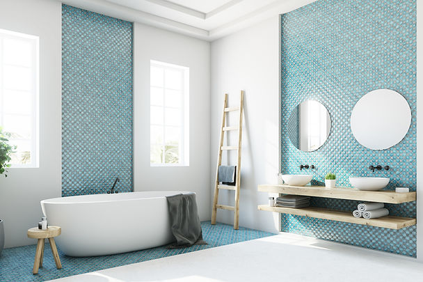 Bathroom with Light Blue Accents