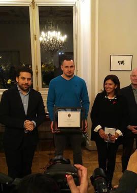 Oleg Sentsov à la Mairie de Paris le 30 novembre 2019