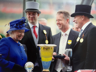 Receiving Group 1 Trophy from HM The Queen
