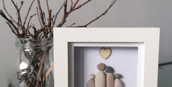Small family framed pebble art