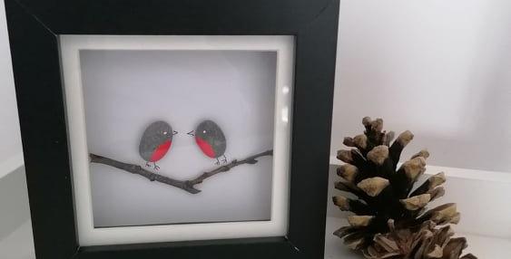 Handmade Robin Framed Pebble art