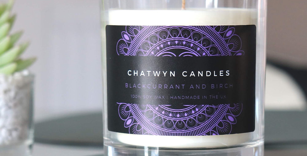 Blackcurrant and Birch soy wax candle