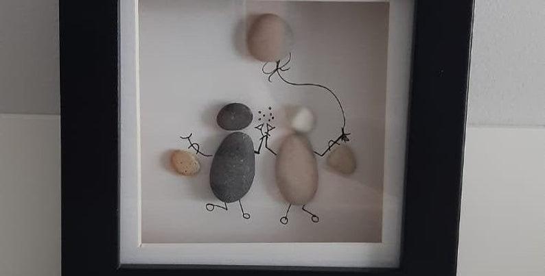 Bestie Pebble Art Framed