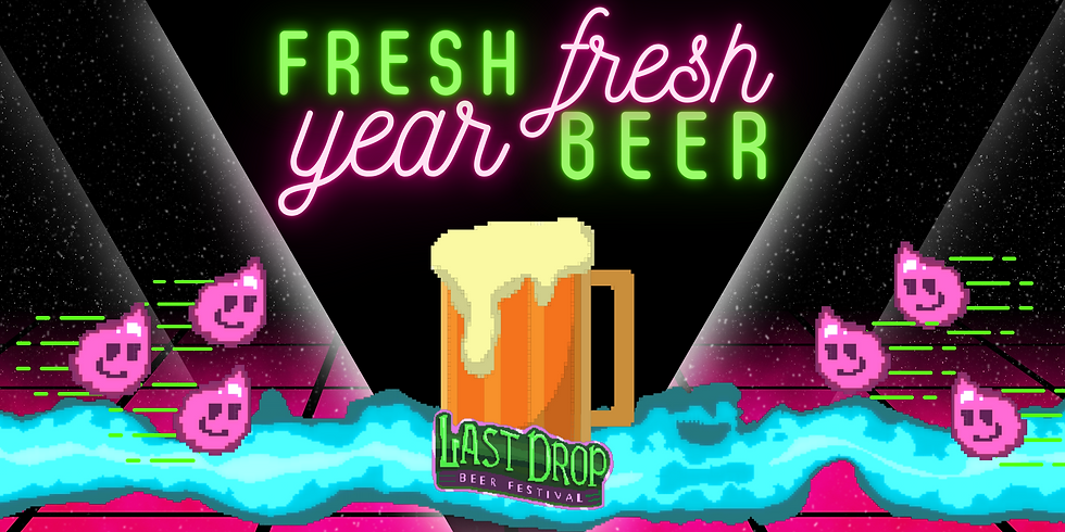 "A pixelated mug of beer with the Digital ""LAST DROP BEER FEST"" emblem set on a futuristic looking black and fuschia background intersected by a cyan-blue laser blast."