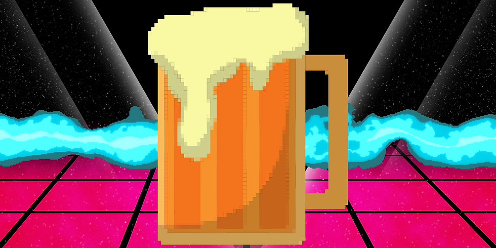 Retro Video Game inspired background with a large 8-bit videogame beer mug in the center.