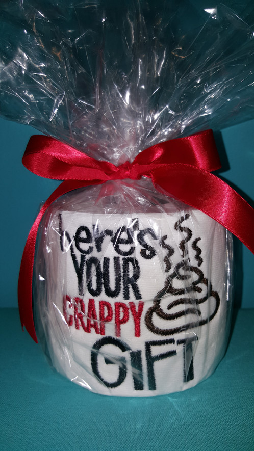 Novelty Embroidered Toilet Paper-Crappy Gift | StitchCraft Studios ...
