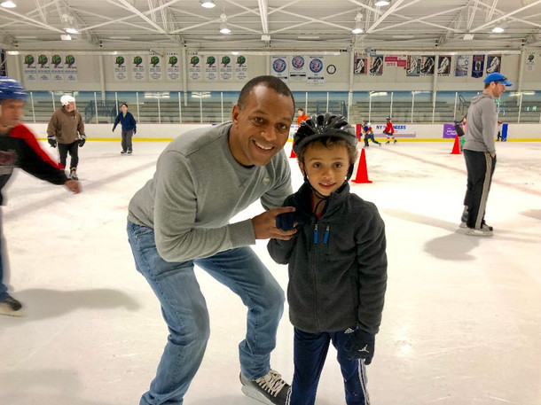 Ice skating with our son at our local rink.
