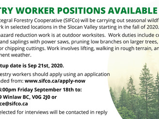 FORESTRY WORKER POSITIONS AVAILABLE