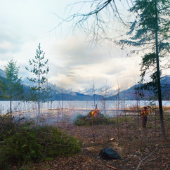 CONTROLLED FIRE BY THE SLOCAN LAKE
