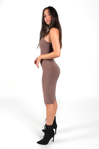 ANGIE MIDI MOCHA DRESS
