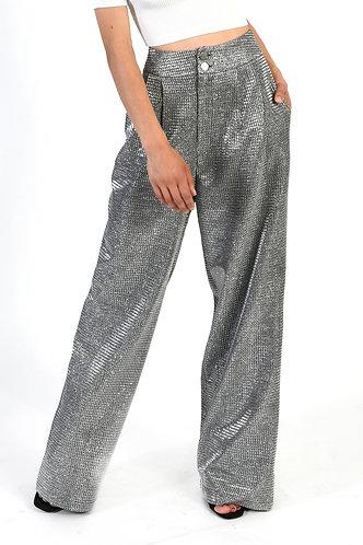 Silver Glitter Long Pants