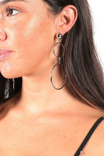 SILVER DOUBLE HOOPS