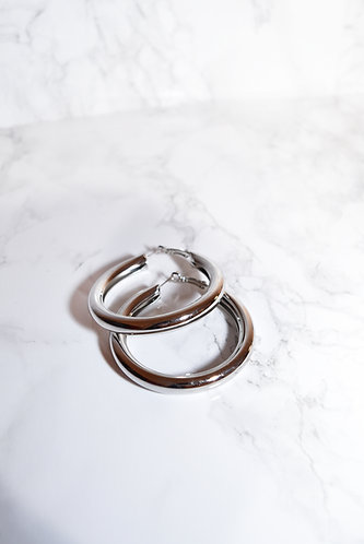 EXTRA THICK SILVER HOOPS
