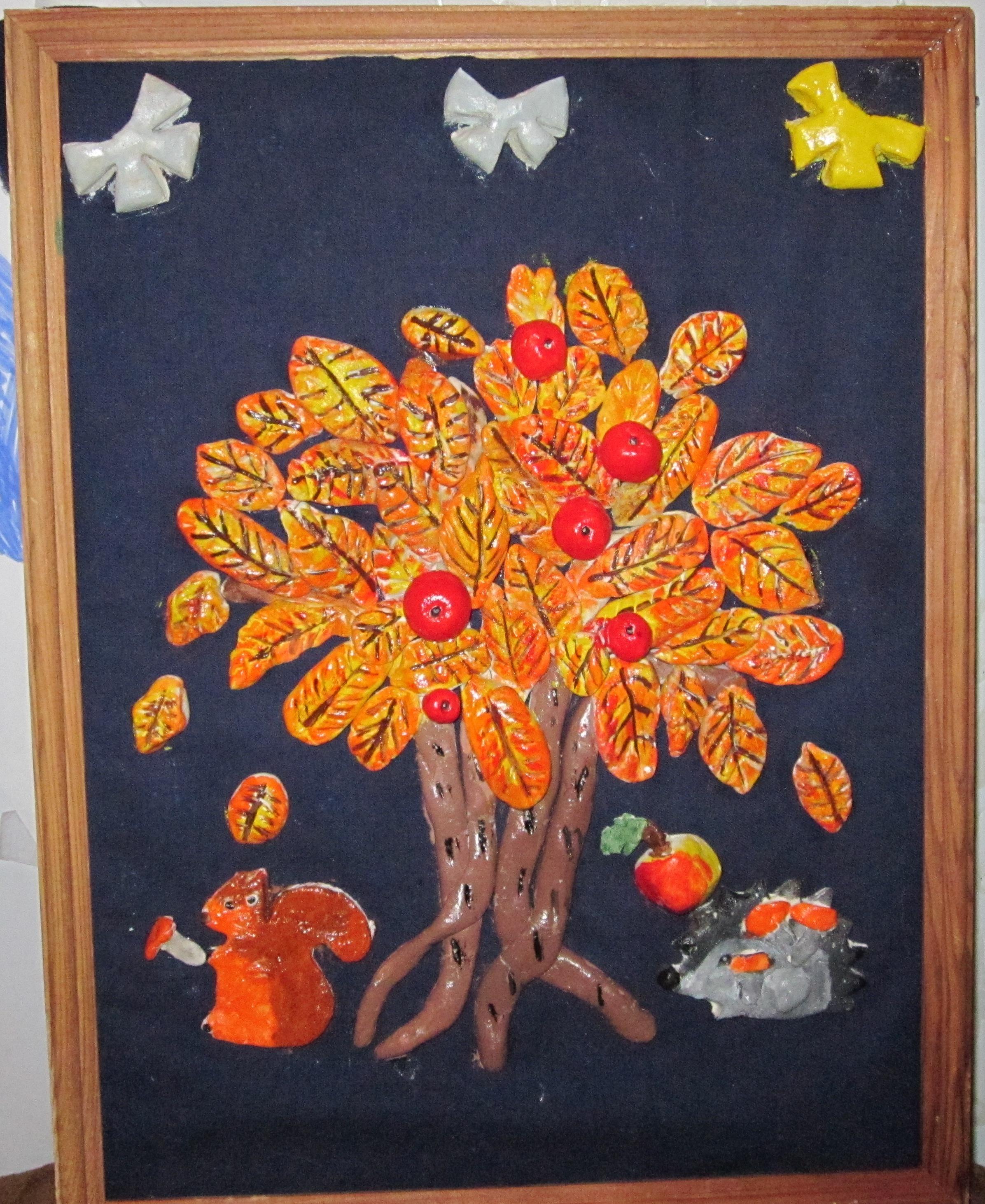 лепка из солёного теста Осеннее дерево