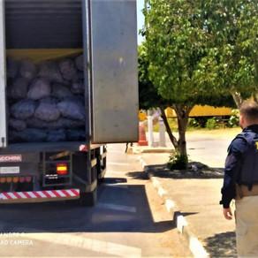 Sem licença ambiental válida, condutor é flagrado pela PRF transportando carvão vegetal irregular.