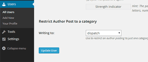 Restricting an author to a category