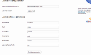 Provide your Joomla website database information