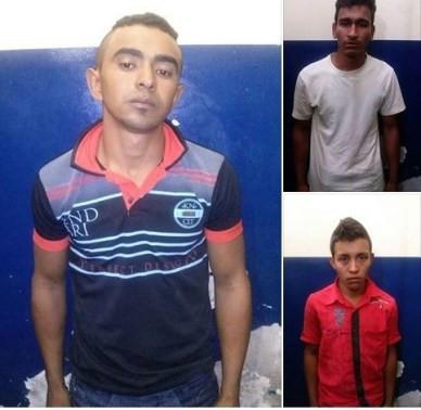 A Polícia Militar prendeu três suspeito do crime (Fotos: Ramon Barboza - Várzea Nova Notícias)