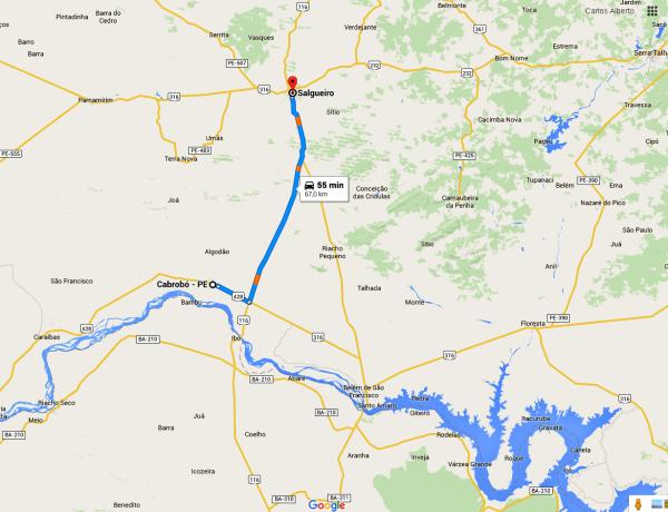 Trecho onde aconteceu o ataque, em arte do Google Maps